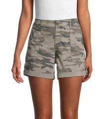 poplin camo roll-tab shorts