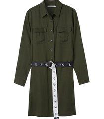 vestido camisero utilitario con cinturón verde calvin klein