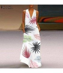 zanzea bohemia de las mujeres floral de la playa kaftan sun maxi vestido de fiesta vestidos de mujer -blanco