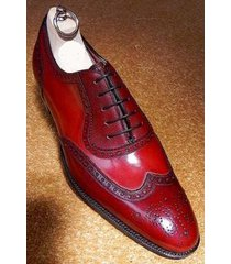 handmade men burgundy color formal wingtip shoes, men formal dress shoes