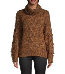 rd style women's cable-knit sweater - cognac - size s
