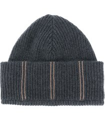 brunello cucinelli stripe embroidered beanie hat - black