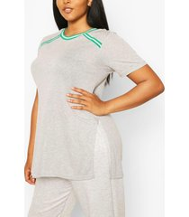 plus stripe detail split side tunic t-shirt, grey marl