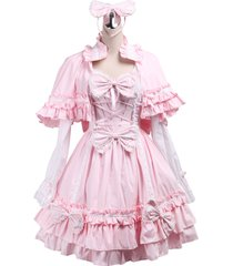 zeromart pink cotton bows ruffles cape sweet vintage victorian lolita dress