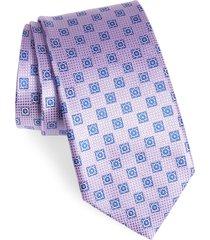 men's canali geometric silk tie, size regular - purple