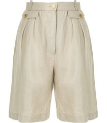 chanel pre-owned micro pleated bermuda shorts - neutrals