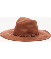 women's faux suede hat with braided band cognac one size from sole society