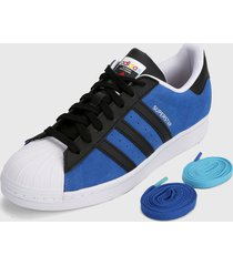 tenis lifestyle azul-negro-blanco adidas originals superstar