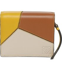 puzzle compact zip leather wallet