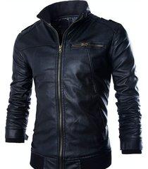 chaqueta larga hombre cuero sintetico casual 42264 negro