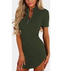 mini vestidos con dobladillo curvo en la parte delantera y cremallera verde militar de yoins basics