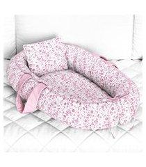 ninho bebê redutor berço rosa floral liberty grão de gente rosa