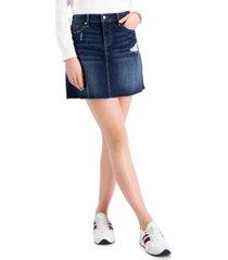 tommy jeans distressed denim skirt