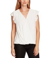 vince camuto flutter-sleeve wrap-front blouse