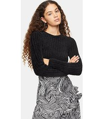 black fluffy ribbed cropped sweater - black