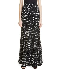 women's dvf parker printed maxi skirt, size 8 - black