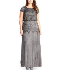 adrianna papell plus size bead-illusion blouson dress