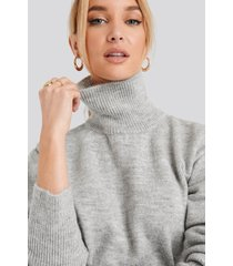 na-kd buckle belt knitted sweater - grey