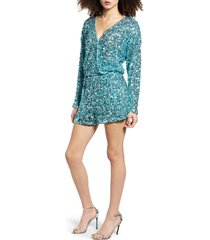 women's endless rose sequin long sleeve wrap romper, size x-small - blue