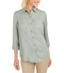 charter club woven solid tencel shirt, created for macy's