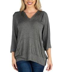 24seven comfort apparel elbow sleeve pocket hoodie top