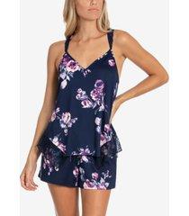 linea donatella cailyn lace-trim cami & tap shorts pajama set