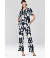 natori tie-dye floral fluid crepe asymmetrical hem top, women's, white, size xl natori