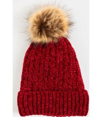 marissa cable knit pom beanie - red