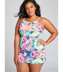 lane bryant women's no-wire high-neck swim dress 20 patchwork