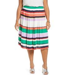 plus size women's halogen pleated midi skirt, size 1x - ivory