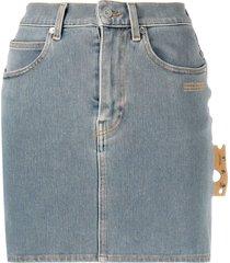 off-white blue stretch denim mini skirt