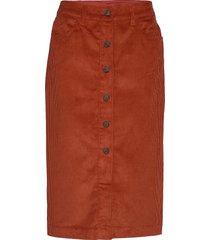 corduroy button-front midi skirt knälång kjol orange gap