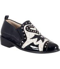 zapato casual para mujer san polos at-3009 negro x blanco