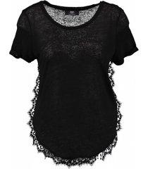 le temps des cerises zwart linnen shirt met kant