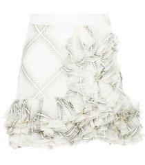giambattista valli flamenco-style short ruffle skirt - white