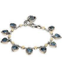 sterling silver, 18k yellow gold & spectrolite doublet bracelet