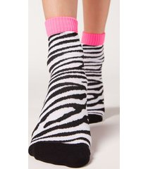 calzedonia colorful patterned ankle socks woman black size tu