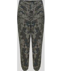 calça de sarja feminina jogger cintura super alta estampada camuflada verde militar