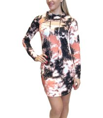 almost famous juniors' tie-dyed cutout hoodie dress