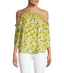 lemon-printed cold-shoulder blouse