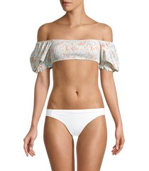 l*space by monica wise women's goldie bikini top - wild ocean - size m