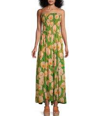 free people women's sophia smocked floral jumpsuit - avocado combo - size xs
