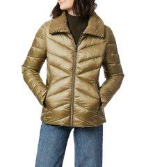 bernardo fleece trim quilted puffer coat, size x-large in sage green at nordstrom