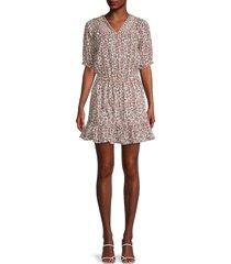 nicole miller women's printed stretch-cotton mini dress - brown multi - size 8