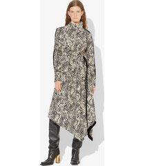 proenza schouler zebra print long sleeve scarf dress vanilla black/white 6