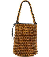 jil sander beaded drawstring bucket bag - brown