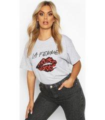 plus lippen t-shirt met tekst, grijs
