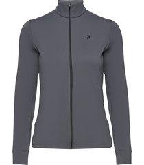 turf zip women sweat-shirt tröja grå peak performance