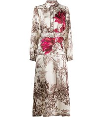 f.r.s for restless sleepers floral-print belted dress - neutrals