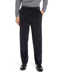men's berle classic fit flat front corduroy trousers, size 33 - black